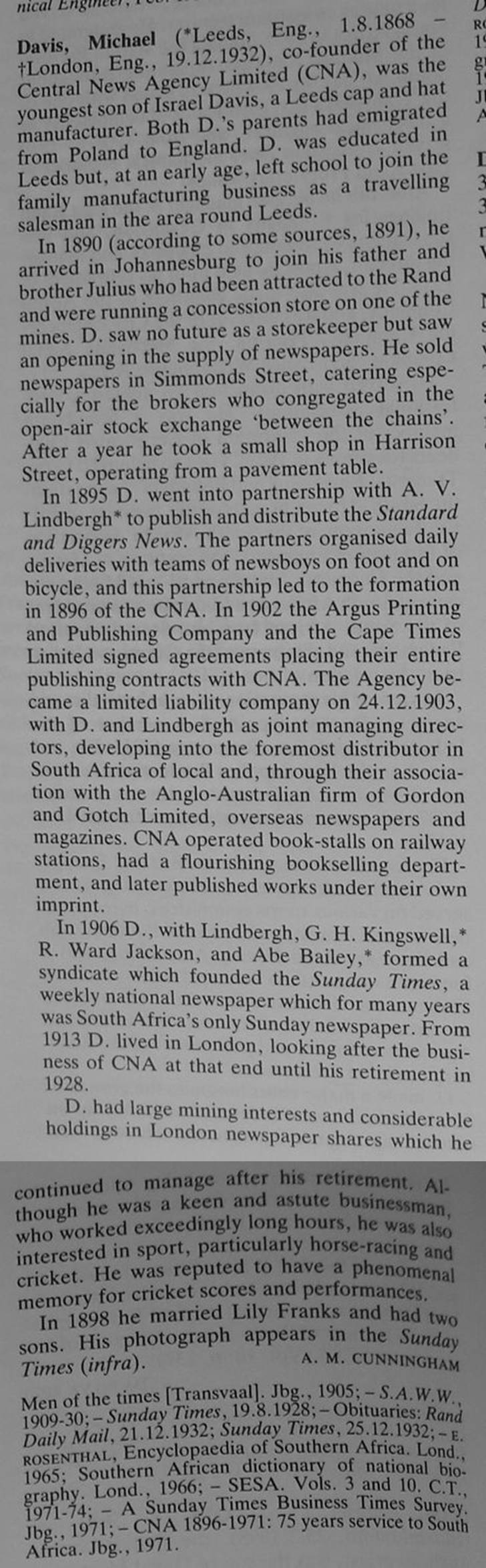 Biography from Standard Encyclopaedia of Southern Africa