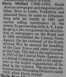Biography from 'South African Dictionary of National